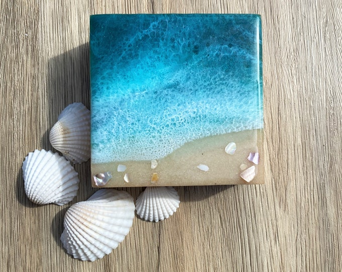 Ocean Painting; Resin Ocean Painting; 4x4 Inch Painting