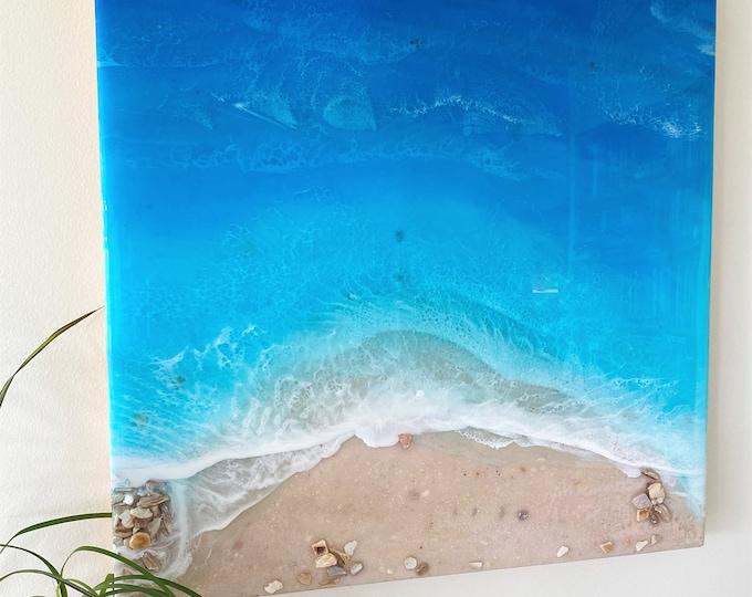 Ocean Painting; Resin Ocean Painting; 20x20 Inch Painting