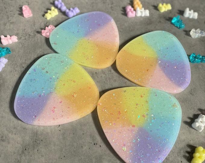 Rainbow Coaster Set, Triangular Coasters, Resin Coasters