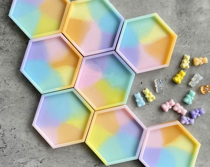 Rainbow Coaster, Hexagon Coasters, Resin Coasters