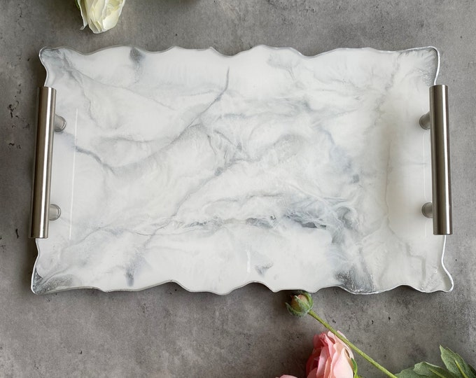 White Marble Tray: 12 Inch