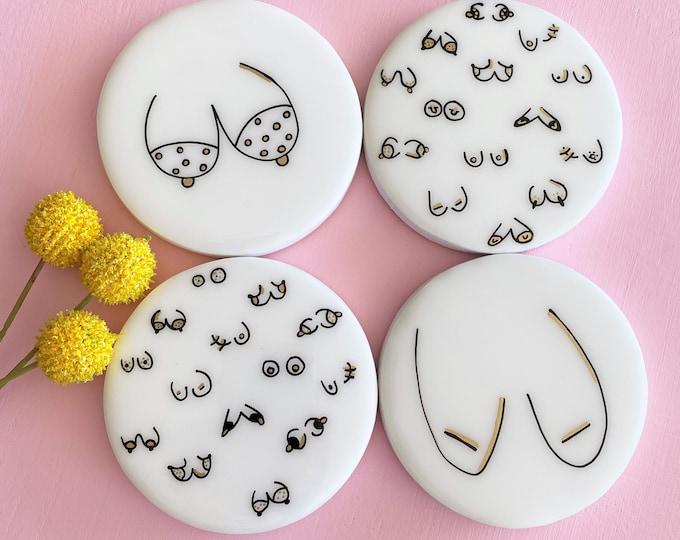 BOOB Coasters, round coasters, resin coaster set