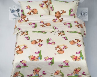 Winnie The Pooh Bettbezug Kopfkissenbezug Disney Bettwäsche Etsy