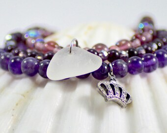 Purple sea glass bracelet / genuine sea glass jewelry / purple stretch bracelet / stack bracelet set / amethyst jewelry