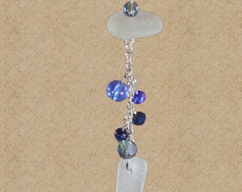 Blue sea glass necklace / authentic sea glass jewelry / seaglass necklace / beach bride / beach wedding / statement necklace