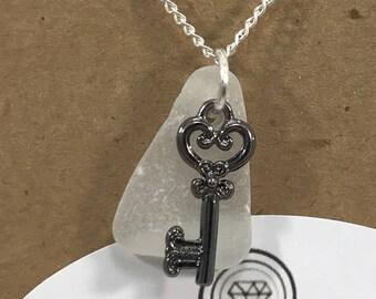 vintage key necklace / sea glass necklace / authentic sea glass jewelry / beach glass necklace / seaglass necklace
