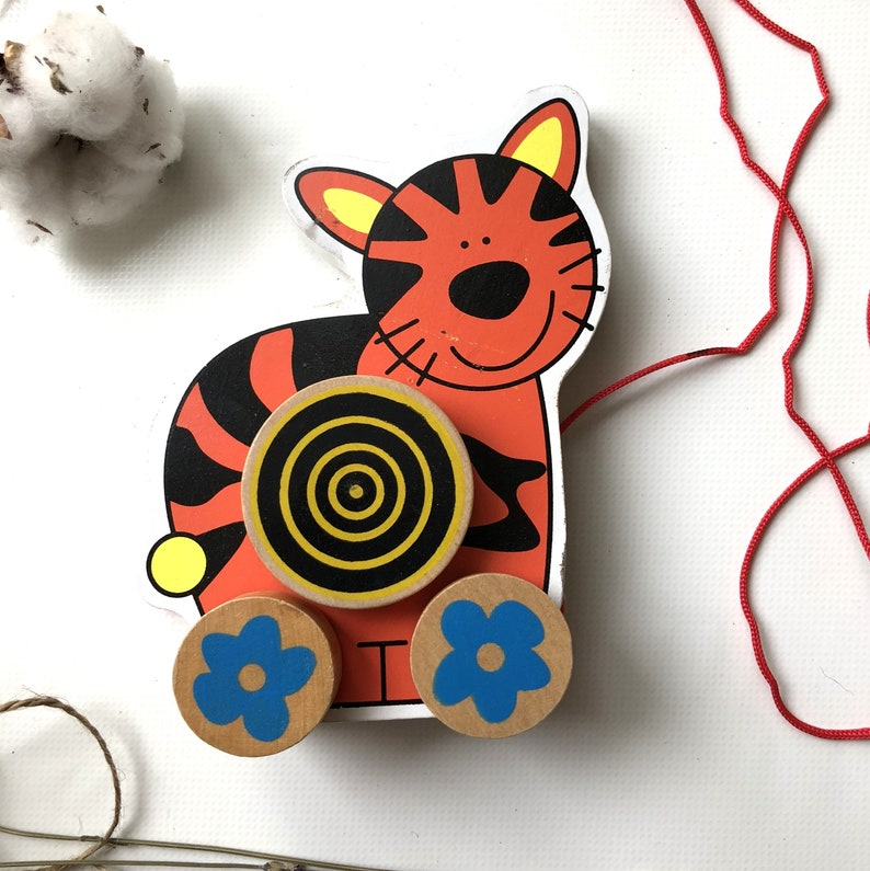 Wooden Pull Toy Cat Montessori Toys Baby Eco Easter Gift 1 2 Years Old Boys Girls Son Daughter 1st Birthday Christening
