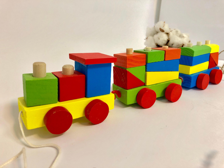wooden shape sorter trains color building blocks montessori toys gift  present toddler boys girls 1 2 3 4 5 years old preschool godson