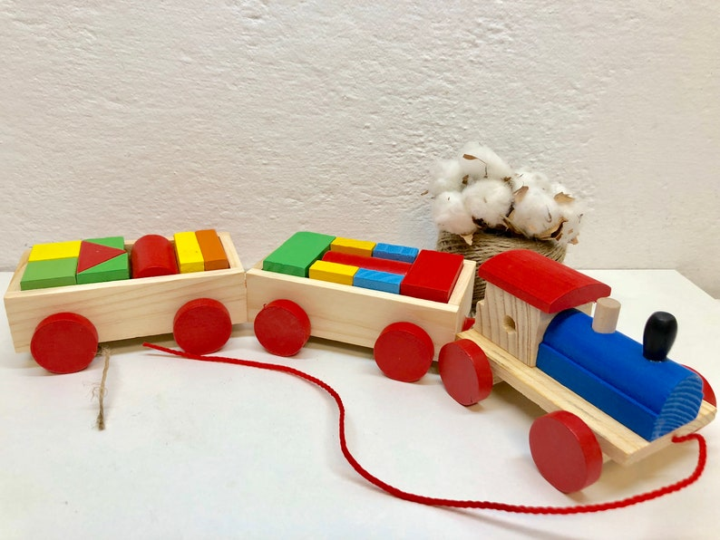 Wooden Train Geometric Figures Montessori Educational Eco Toys Gift Present For 1 2 3 4 5 Years Old Toddlers Boys Girls Godson Goddaughter