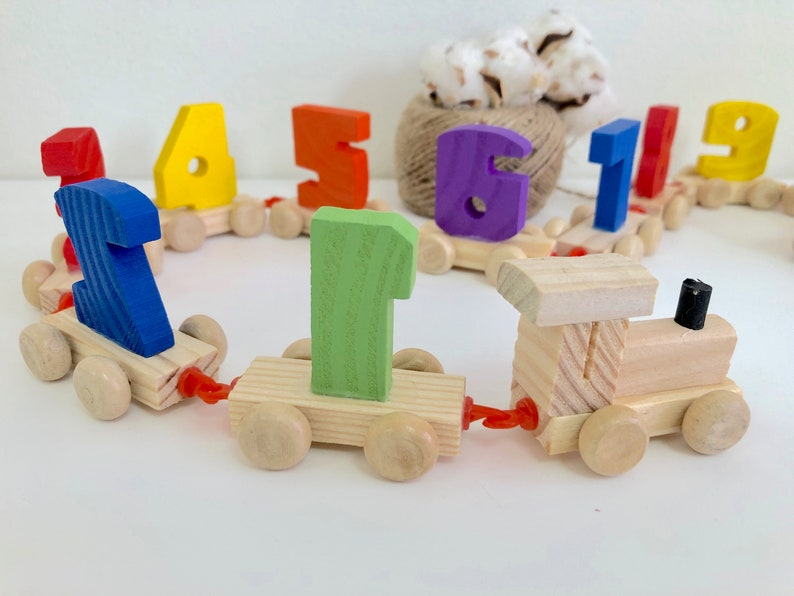 Wooden Train Numbers Montessori Materials Montesori Toy Educational Toys Gift Present For 1 2 3 4 5 Years Old Toddlers Boys Girls