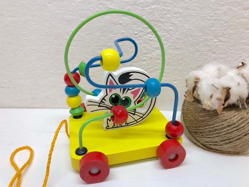 Wood Bead Maze Labyrinth Pull Toys Motor Skill Montessori