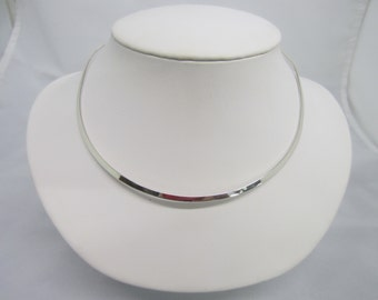 3mm Plain Oval Shape Solid 925 Sterling Silver Choker Collar Wire Necklace FREE Shipping US SELLER