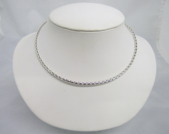 Solid 925 Sterling Silver Round Shape Twisted Rope Style Choker Collar Wire Necklace Heavy FREE Shipping US SELLER