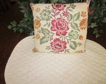 Vintage Hand Made Tapestry Pillow, Red Green Gold