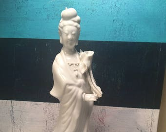 "Vintage 14.5"" Chinese White Glazed Porcelain (Blanc de Chine) of Chinese Goddess Figure With Pierced Ears Made in Hong Kong"