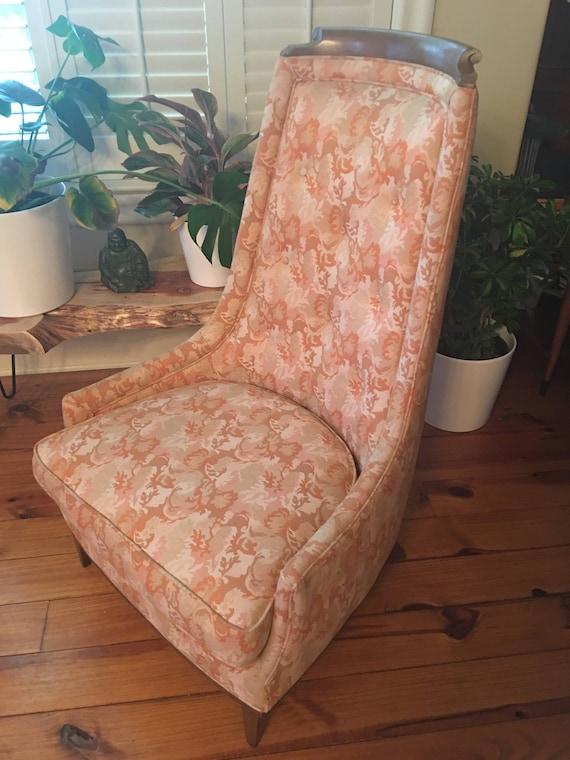 Vintage Mid Century Modern Chair Tomlinson High Barrel Back Etsy
