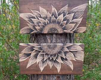 Two Piece Hand Painted Barn Wood Sunflower Large
