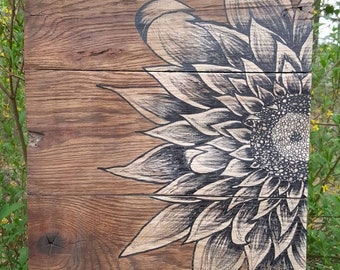 Hand Painted Barn Wood Sunflower Sign