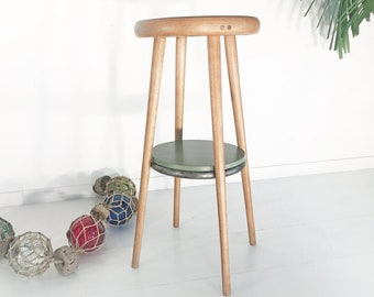 60s bar stools with shelf. Mid Century . side table. Vintage. wood. rockabilly. 60th. Loft stool . 1960 . UNIQUE