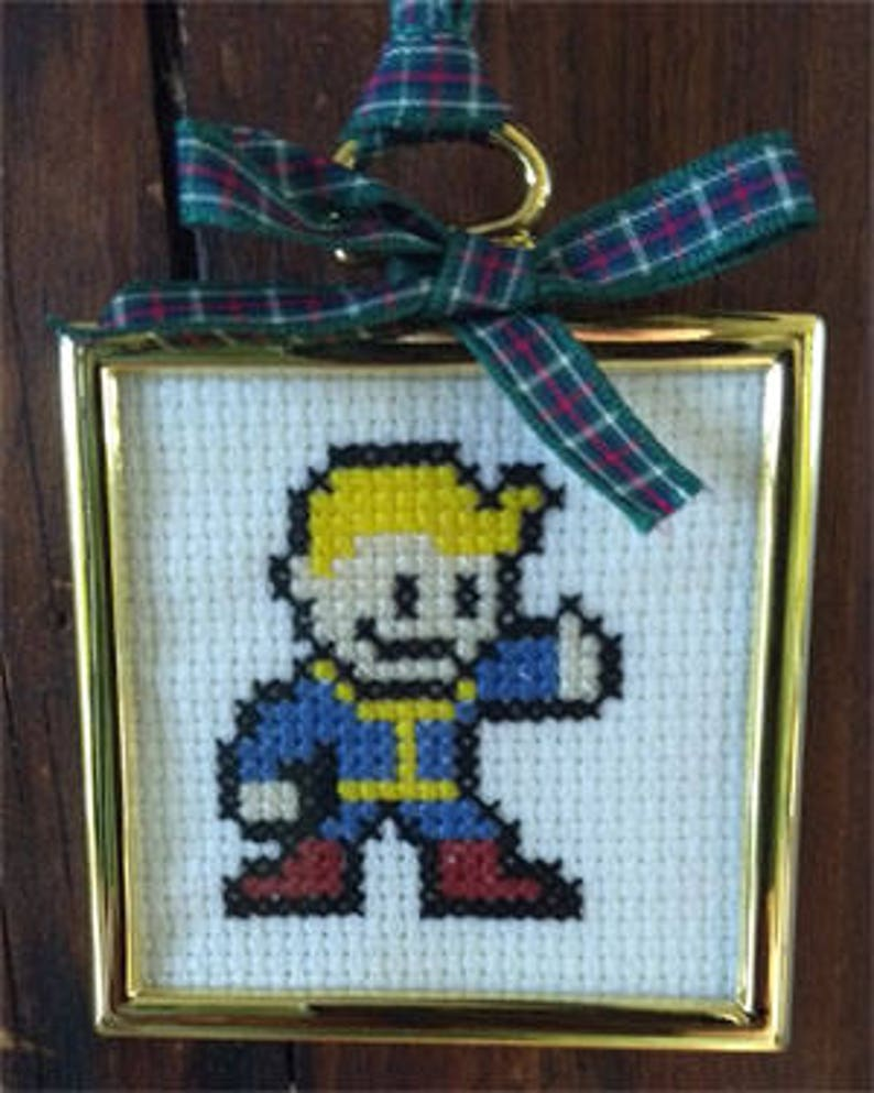 Vault Boy Mini and Christmas Ornament Cross Stitch Pattern image 0