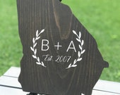 State Wood Cutout, Marriage Initials, State Cutout Home Decor, Wedding Sign, Marriage Initials, Established Sign, State Shape Sign