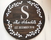 Dark Stain, Wedding Wood Sign, Wedding Focal Sign, Last Name Sign, Marriage, Established Sign, Personalized Wedding Sign, Round Sign, Gift