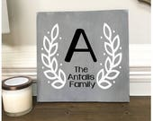 Custom Wood Sign, Family Name Sign, Wreath Wood Sign, Last Name, Grey Wood Sign, Farmhouse Decor, Personalized Sign, Laurel Wreath
