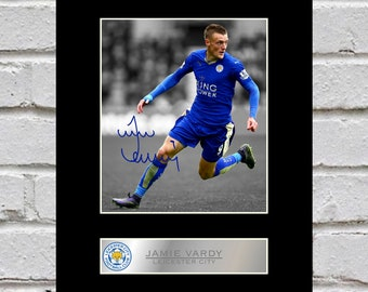 ffcad20696a Jamie Vardy 10x8 Mounted Signed Photo Print Leicester City