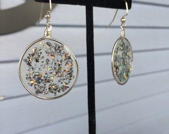 Opal Resin Earrings-Large circle