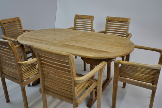 Oval Outdoor Teak Summer Extension Dining Table Teak Wood - Teak oval extension dining table