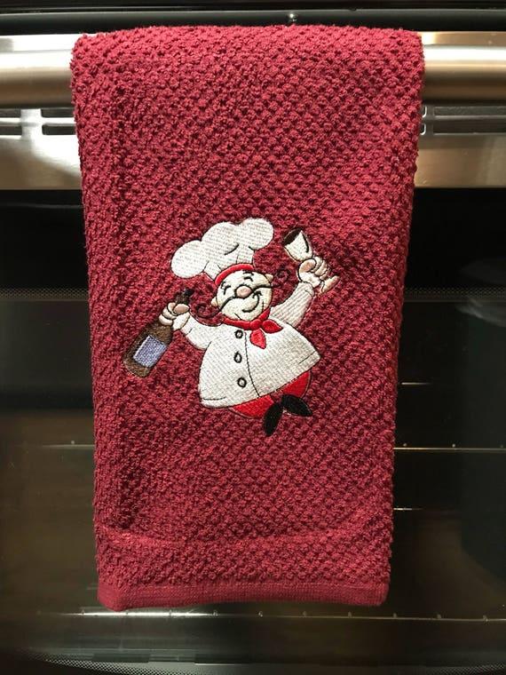 Embroidered Wine Chef Kitchen Towel