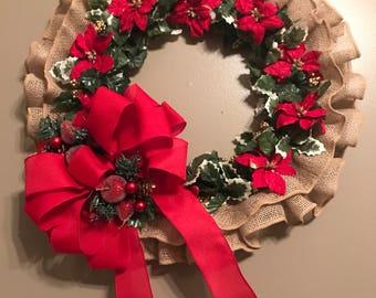 Burlap Ruffle Christmas Wreath