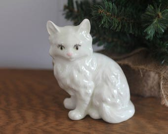 White Ceramic Persian Cat Figurine