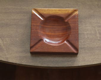 Vintage Classic Wooden Ash Tray, Small Dish