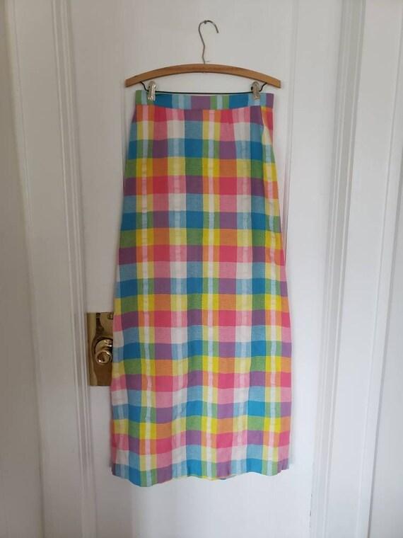 Long Vintage Seersucker Easter Egg Skirt, Handmade