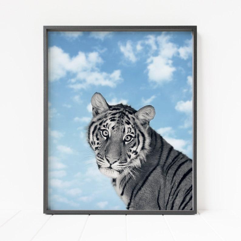 tiger wall decor, printable tiger, clouds and sky print, nursery decor,  animal wall art