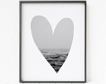I heart the ocean PRINTABLE wall art, large ocean print, beach decor, modern minimalist, heart decor, bedroom ocean decor, waves art print