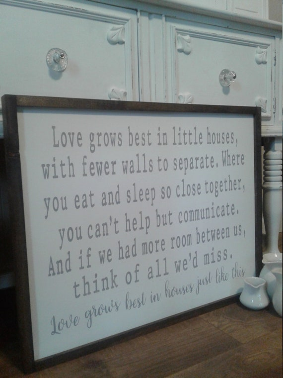 Large Love Grows Best In Little Houses Sign Framed Farmhouse Etsy