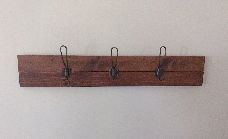 Easy Flush Mount Wood Slat Coat Rack, Wall Mount Coat Hanger, Farmhouse Coat Rack, Foyer Coat Rack, Entryway Coatrack/ Mudroom Bronze Hooks