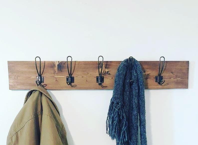 Easy Flush Mount Farmhouse Coat Rack, Wall Mount Coat Rack, Rustic-Modern Coat Rack, Entryway Coat Rack, Towel Rack, Mudroom Coatrack Hooks
