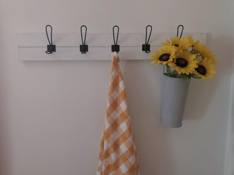 Easy Flush Mount Wood Slat Coat Rack with Black Hooks /Wall Mount Coat Hanger, Farmhouse Coat Rack, Foyer Coat Rack, Mudroom Coatrack