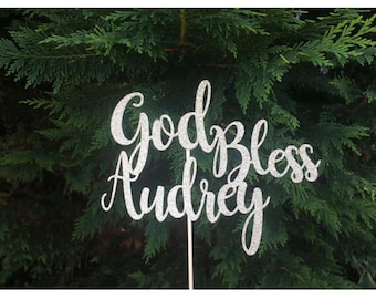 God bless cake topper with name, baptism cake topper, custom centerpiece, gold glitter toppe, personalized centerpiece