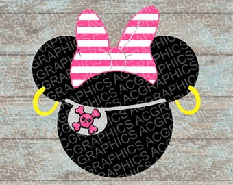 Pirate Minnie SVG, DXF, JPEG, and Studio Downloads