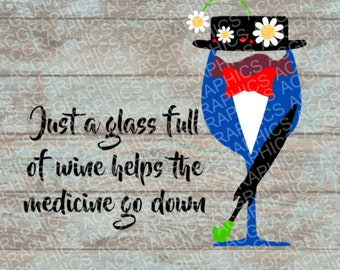 Mary Poppins Wine Glass SVG, DXF, JPEG, and Studio Downloads