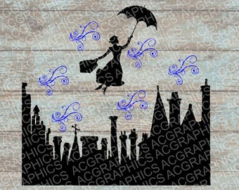 Mary Poppins SVG, DXF, Jpeg, and Studio Downloads