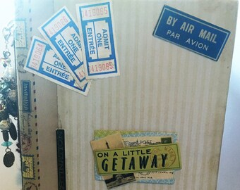 Blank Handmade Book Journal Travel Mail/Postal beige brown Journal