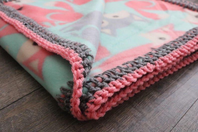 Foxy Fleece Blanket With Crochet Border Etsy