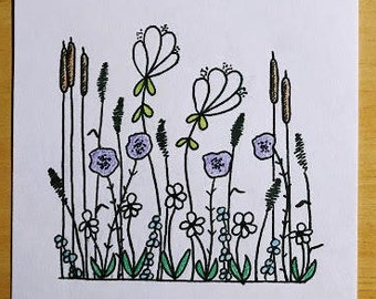 Wildflowers Floral watercolors Colors Black and white original doodle Fine art print abstract Spencer Doodles
