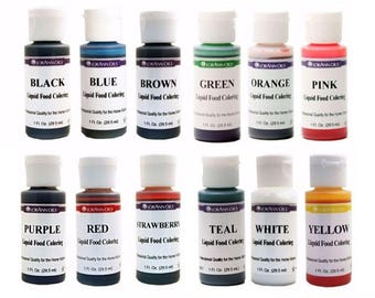 LIQUID FOOD COLORING, LorAnn, Choose From 12 Water-based Colors, 1 oz, Color Frosting, Hard Candy, Easter Eggs