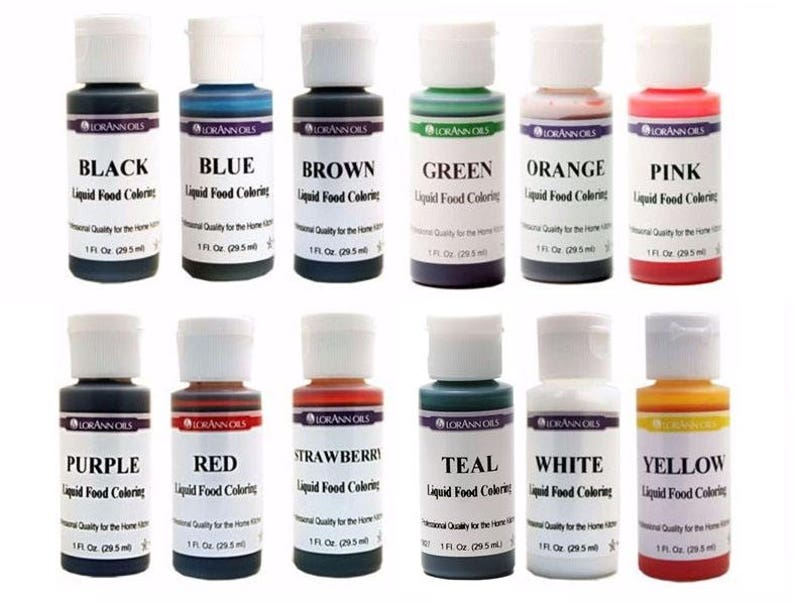 Liquid Food Coloring Set of 12 Colors from LorAnn, 1 oz Bottles, Color  Frosting, Hard Candy, Easter Eggs